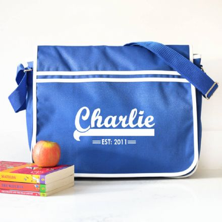 Personalised Blue Retro Messenger Bag